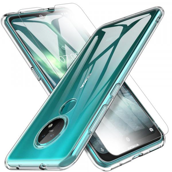 TPU Silikonhülle + Displayschutzfolie gehärtetem Glas für Nokia 7.2