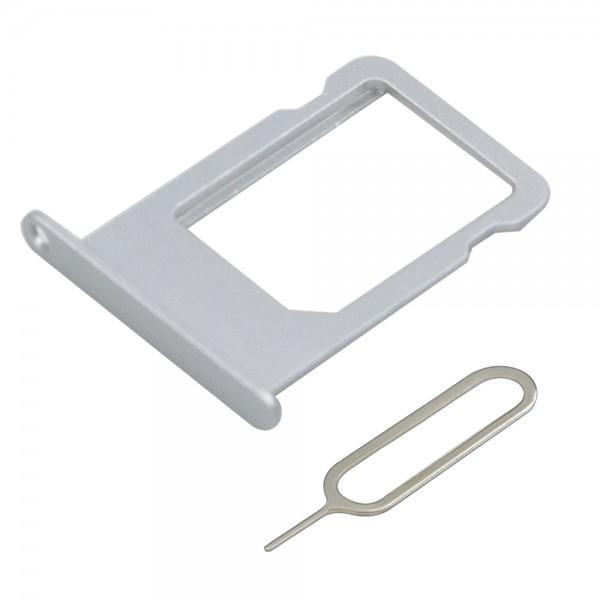 SIM/SD Karte Schlitten Tray für iPhone 6 (SILBER) inkl. SIM Pin