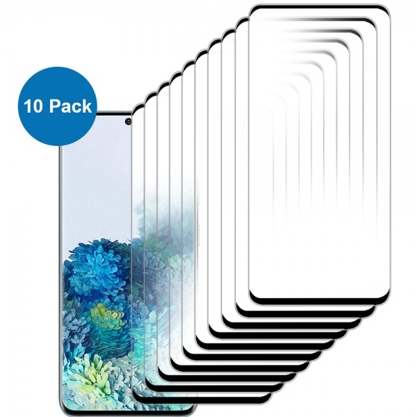 10-Pack Displayschutzfolie aus gehärtetem Glas für Samsung Galaxy S20 - 6.2 inch 2020 - Panzerglas – Temperglas - Inklusive Reinigungsset