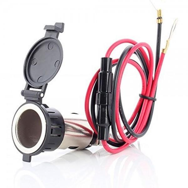 MMOBIEL Universele Waterdichte 12V 120W Auto/ Motor Aanstekerplug - Inbouwdoos met Afdichtingsklep - inclusief Aansluiting voor Boot / Motor / Grasmaaier / Tractor / Caravan / ATC / Auto / Machine