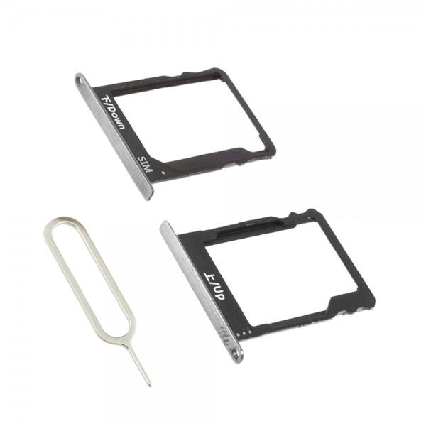 SIM / SD Karte Tray 2 Schlitten für Huawei P8 Lite 2016 (SILBER) inkl. SIM Pin