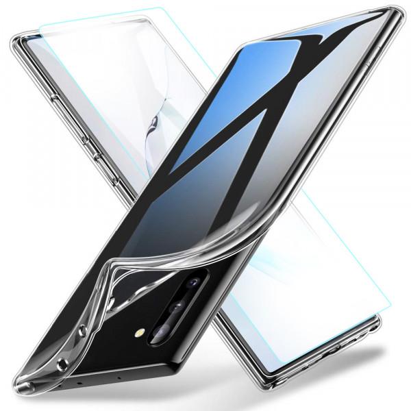 TPU Silikonhülle + Displayschutzfolie gehärtetem Glas für Samsung Galaxy Note 10