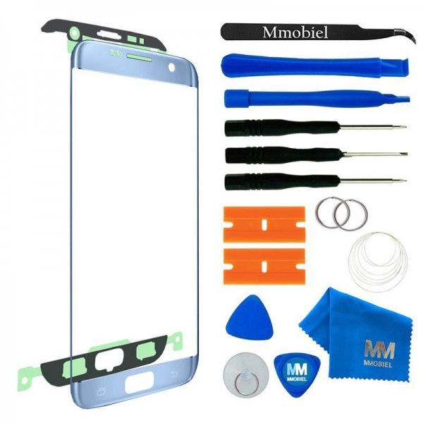 Front Glass for Samsung Galaxy S7 Edge (Blue) Display Touchscreen incl. Toolkit