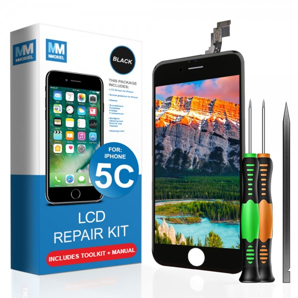 LCD Display Touch Screen Digitizer for iPhone 5C (Black) incl. Toolkit + Manual