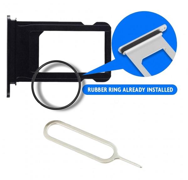SIM/SD Karte Schlitten Tray für iPhone 7 (SCHWARZ) inkl. SIM Pin