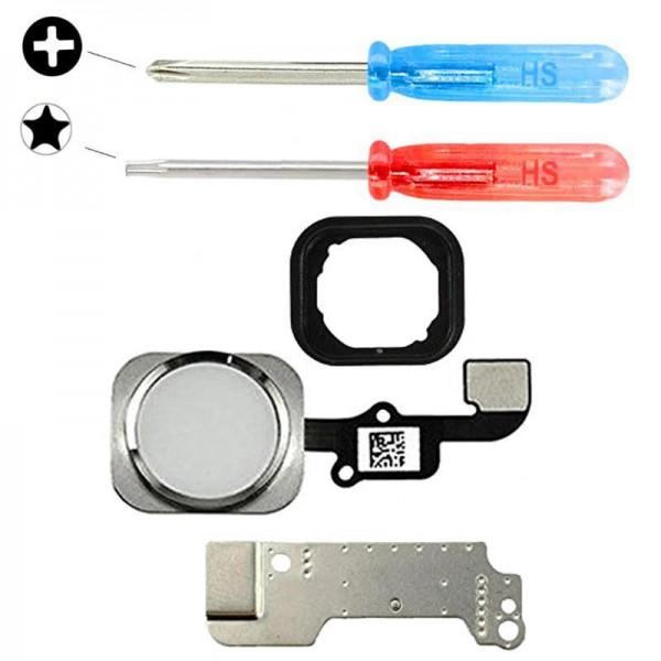 Home Button für iPhone 6 / 6 Plus WEISS Flex Kabel + Metal Bracket + Werkzeug