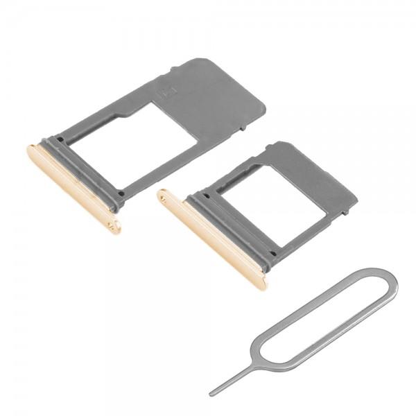 SIM / SD Karte Set 2 Schlitten Tray für Samsung Galaxy A5 / A7 2017 (GOLD)