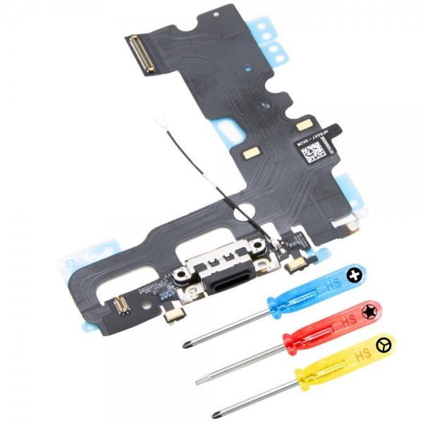 Dock Connector für iPhone 7 (SCHWARZ) Ladebuchse Ladeport + Werkzeug
