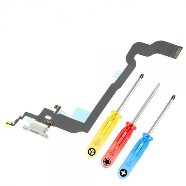Dock Connector für iPhone X (WEISS / SILBER) Ladebuchse Ladeport + Werkzeug