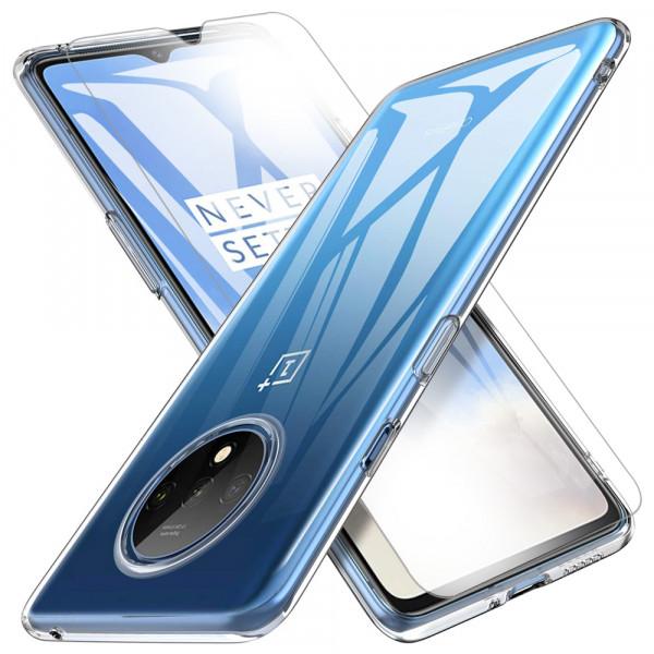 TPU Silikonhülle + Displayschutzfolie gehärtetem Glas für OnePlus 7T