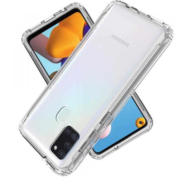MMOBIEL Panzerglas und Silikon TPU Schutzhülle für Samsung Galaxy A21S A217 6.5 inch 2020 - 2 in 1 Schutzset