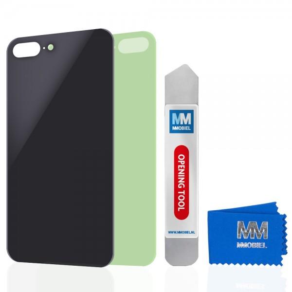 Akkudeckel für iPhone 8 Plus (SCHWARZ) Glas Backcover Rückseite