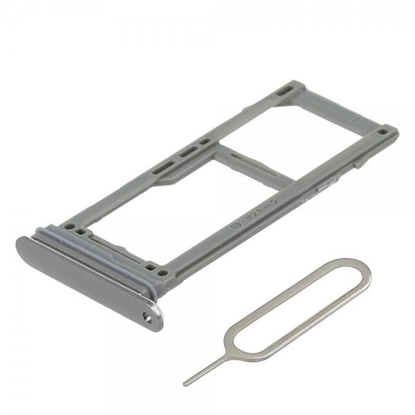 SIM / SD Karte Schlitten Tray für Samsung Galaxy S9 / Plus (GRAU) inkl. SIM Pin
