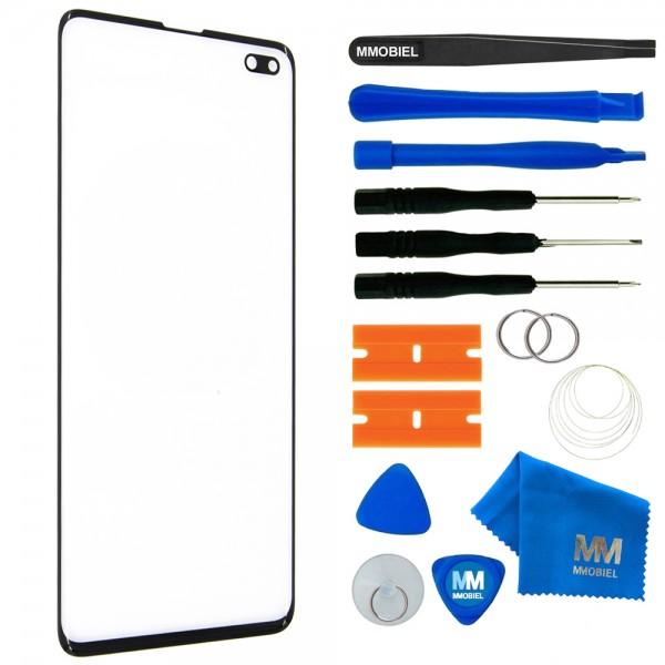 Front Glas für Samsung Galaxy S10 Plus (SCHWARZ) Display Scheibe + Werkzeug