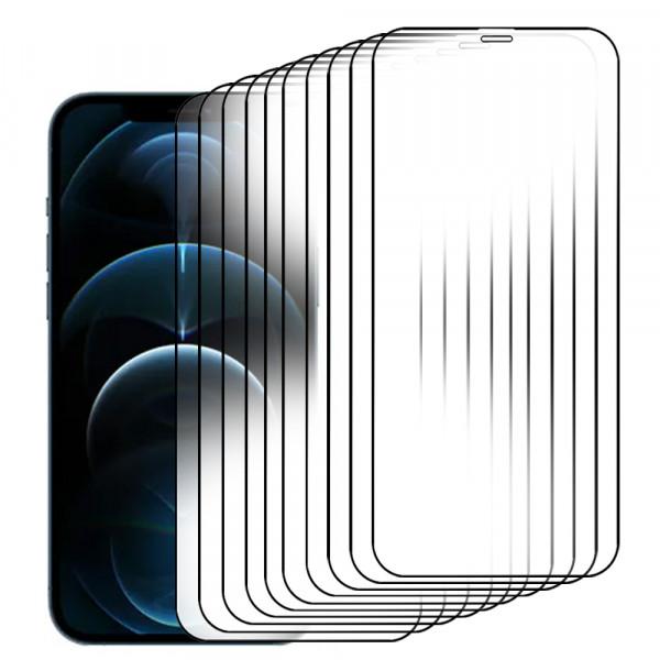 10-Pack Displayschutzfolie aus gehärtetem Glas für iPhone 12 Pro Max - 6.7 inch 2020 - Panzerglas – Temperglas - Inklusive Reinigungsset