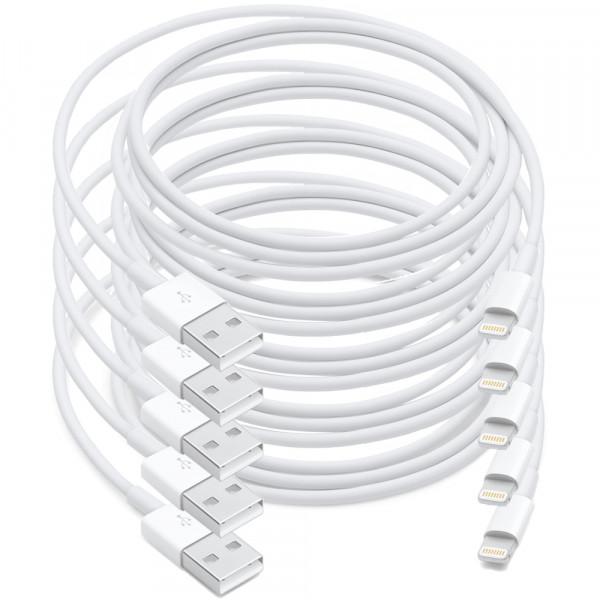 MMOBIEL 5x USB auf 8 pin Lightning Kabel Aufladekabel für iPhone, iPad und iPod