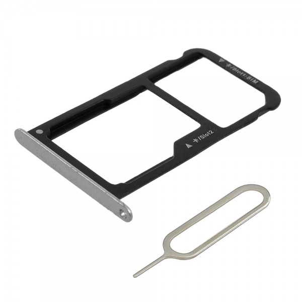 Dual Sim card Tray for Huawei P10 - (Silver) part incl. Sim pin
