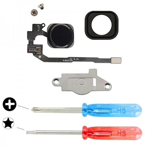 Home Button für iPhone 5S SCHWARZ Taste Flex Kabel + Metal Bracket + Werkzeug