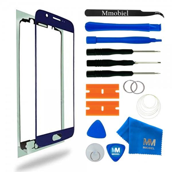 Front Glas Reparatur Set für Samsung Galaxy S6 (BLAU) Display+Werkzeug