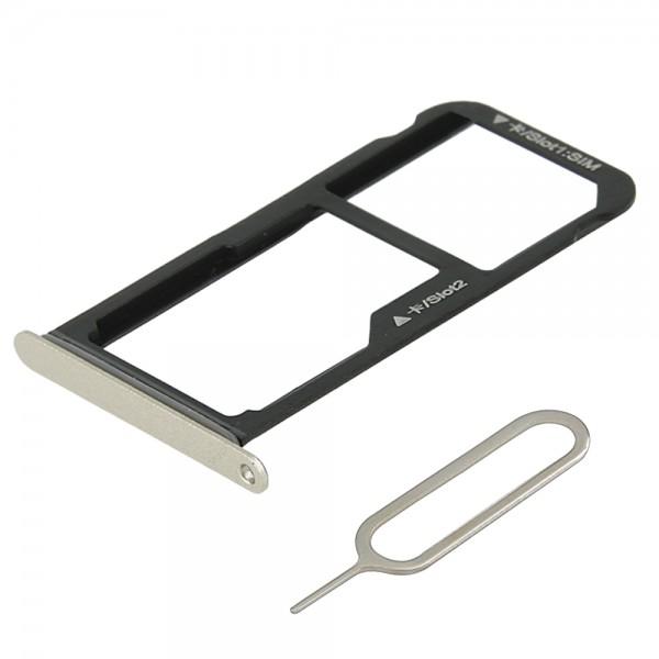 Dual Sim card Tray for Huawei P10 Lite 5.2 Inch (Platinum Gold) incl. Sim Pin