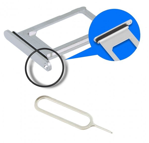 SIM / SD Karte Schlitten Tray für iPhone XS Max (SILBER / WEISS) ink. SIM Pin