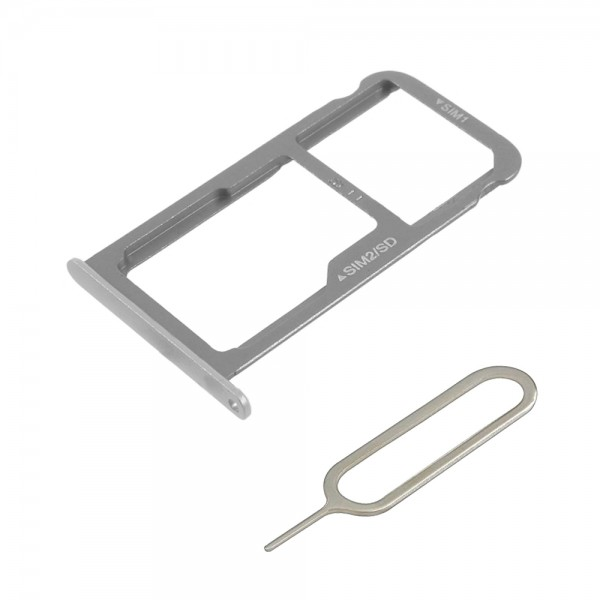 Dual Sim Tray Holder for Huawei P9 5.2 inch (Silver) Slot part incl. Sim Pin