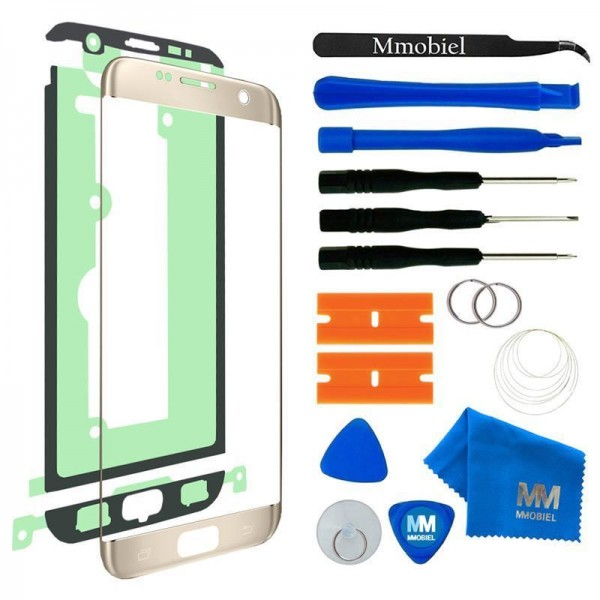 Front Glass for Samsung Galaxy S7 Edge (Gold) Display Touchscreen incl. Toolkit