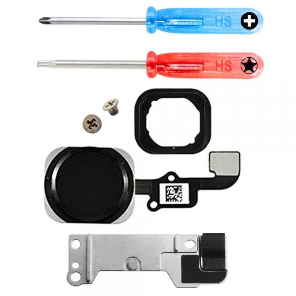 Home Button für iPhone 6S / 6S Plus SCHWARZ Flexkabel + Metal Bracket + Werkzeug