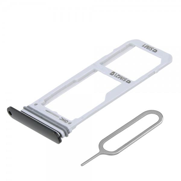 Dual SIM card Tray for Samsung Galaxy Note 8 N950 (Black) incl. Sim Pin
