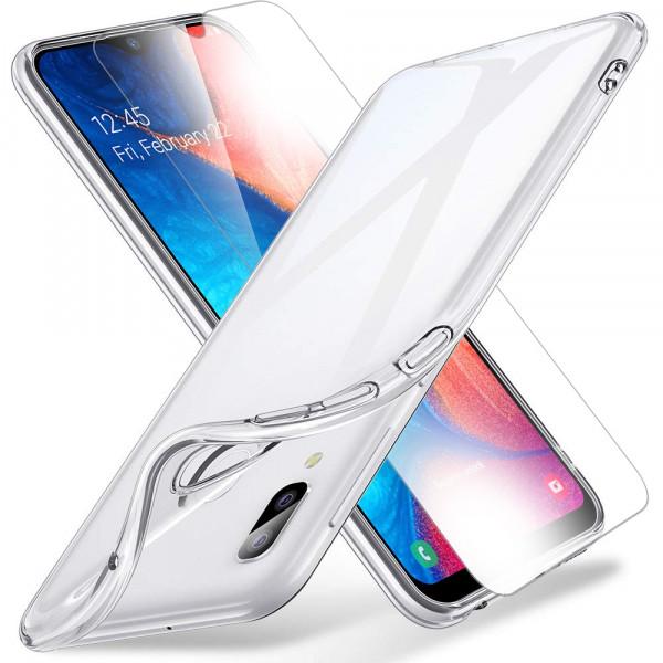 TPU Silikonhülle + Displayschutzfolie gehärtetem Glas für Samsung Galaxy A10