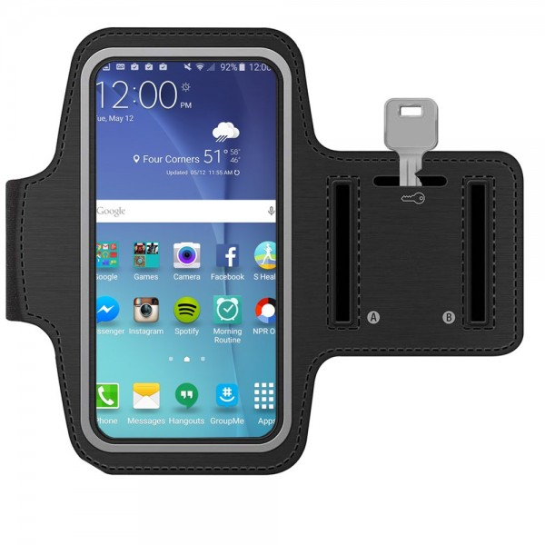 Sportband for Samsung Galaxy S10 S9 S8 S7 (Black) Water Resistant Stretchable