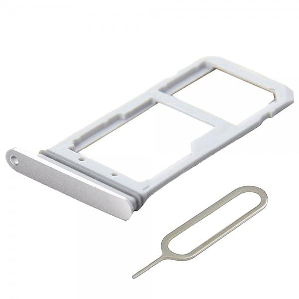 SIM / SD Karte Schlitten Tray für Samsung Galaxy S7 (WEISS / SILBER) inkl. Pin