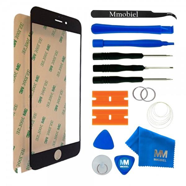 Front Glas für iPhone 6 Plus/6S Plus (SCHWARZ) Display Scheibe + Werkzeug