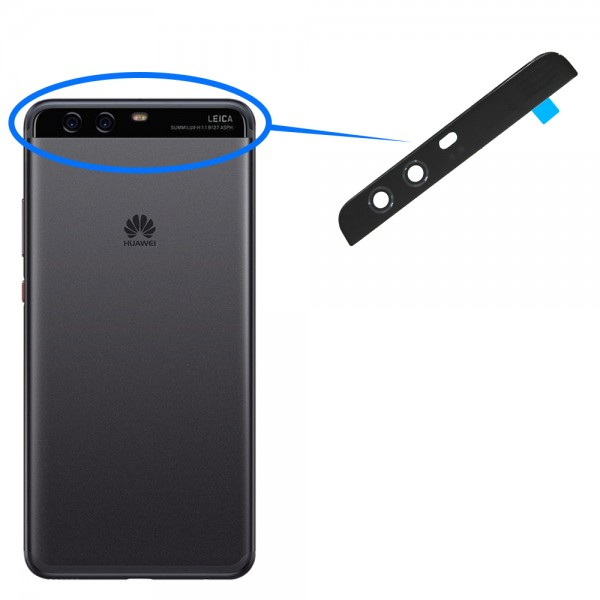 Back Rear Camera Glass Lens for Huawei P10 (Black) incl. Tweezers and Cloth