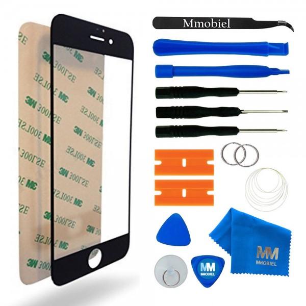 Front Glas für iPhone 6 / 6S (SCHWARZ) Display Scheibe + Werkzeug