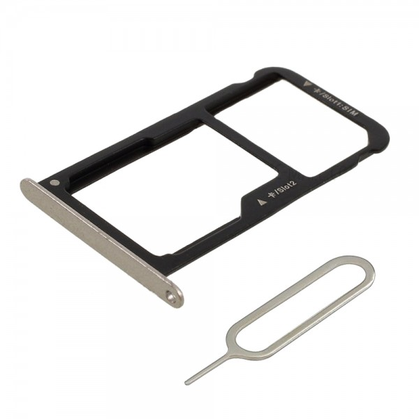 Dual Sim card Tray for Huawei P9 Lite 2016 5.2 inch (Gold) incl. Sim Pin