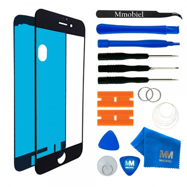 Front Glass for iPhone 7 (Black) Display Touchscreen incl. Toolkit