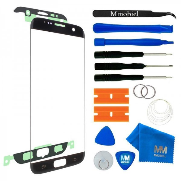 Front Glass for Samsung Galaxy S7 Edge (Black) Display Touchscreen incl. Toolkit