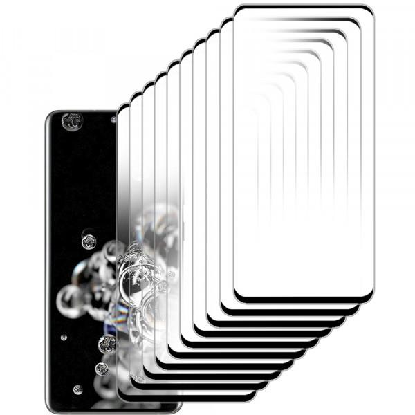 10-Pack Displayschutzfolie aus gehärtetem Glas für Samsung Galaxy S20 Ultra - 6.9 inch 2020 - Panzerglas – Temperglas - Inklusive Reinigungsset