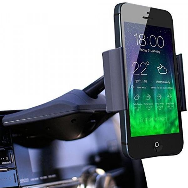 MMOBIEL Universele Stretch Telefoon Houder met bevestiging op CD speler - Werkt met alle Smartphones / Samsung / iPhone / HTC / Huawei / Sony / OnePlus / Universeel