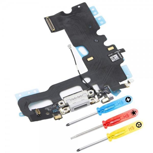 Dock Connector für iPhone 7 Plus (WEISS / SILBER) Ladebuchse Ladeport + Werkzeug