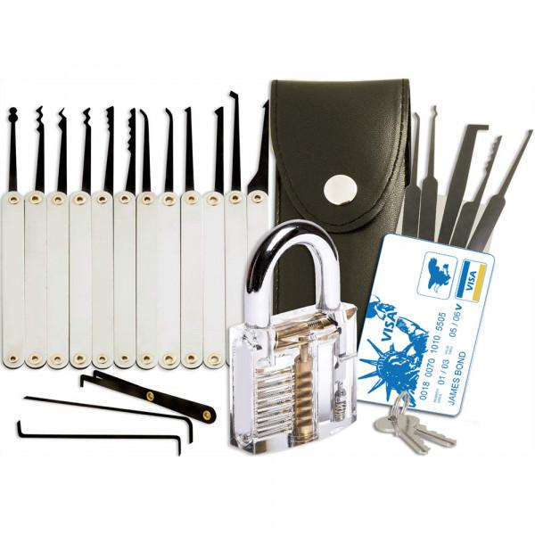 25x Professionele Lock Pick Loper Set Training Kit met Trainingslot en Credit Card Set