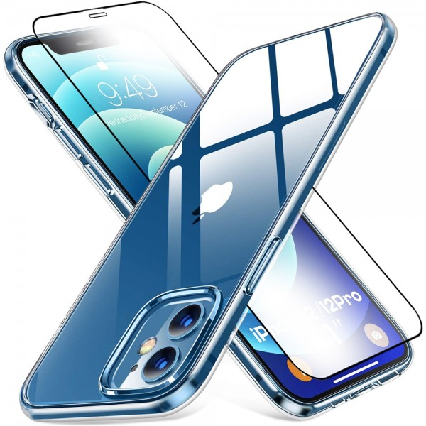 MMOBIEL Screenprotector en Siliconen TPU Beschermhoes voor iPhone 12 / 12 Pro - 6.1 inch