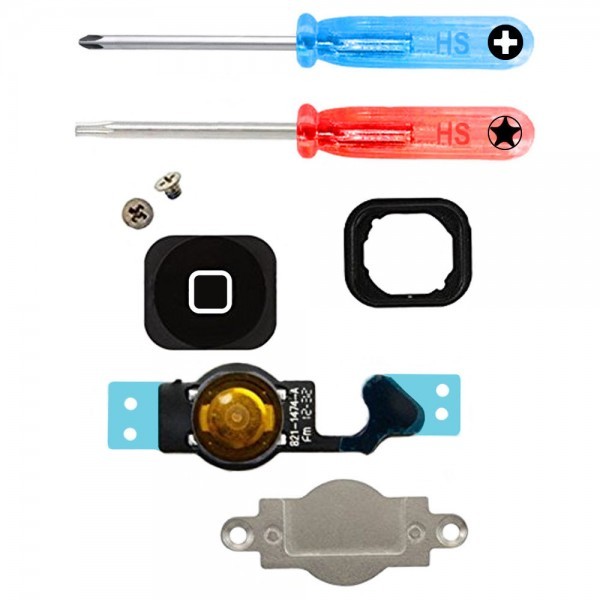 Home Button for iPhone 5 (Black) Homebutton with Flex Cable incl. Screwdriver