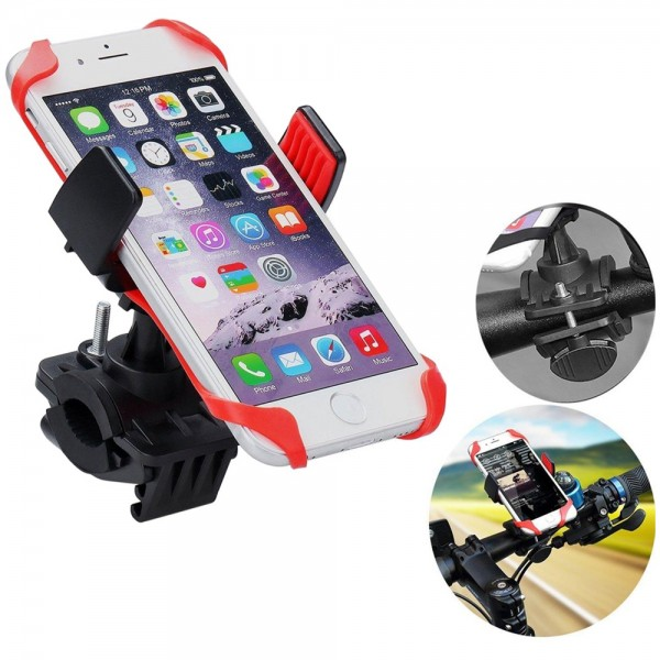 MMOBIEL Telefoonhouder voor Fiets/ Scooter/ Motor – Verstelbaar –Geschikt Voor Alle Smartphones - Rood