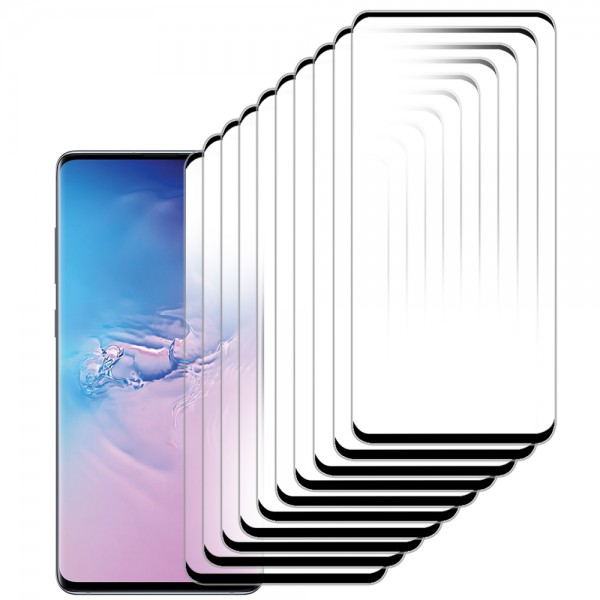 10-Pack Displayschutzfolie aus gehärtetem Glas für Samsung Galaxy S10 Plus - 6.4 inch 2019 - Panzerglas – Temperglas - Inklusive Reinigungsset