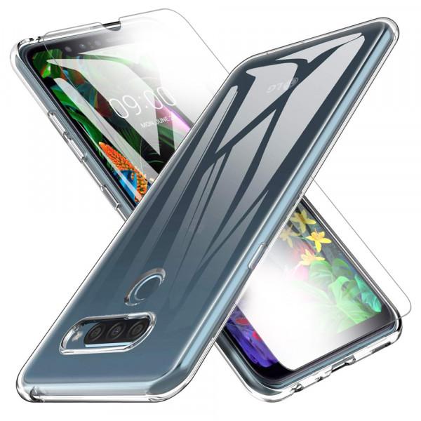 TPU Silikonhülle + Displayschutzfolie gehärtetem Glas für LG Q60