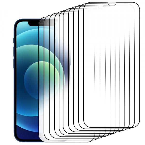 10-Pack Displayschutzfolie aus gehärtetem Glas für iPhone 12 Mini - 5.4 inch 2020 - Panzerglas – Temperglas - Inklusive Reinigungsset
