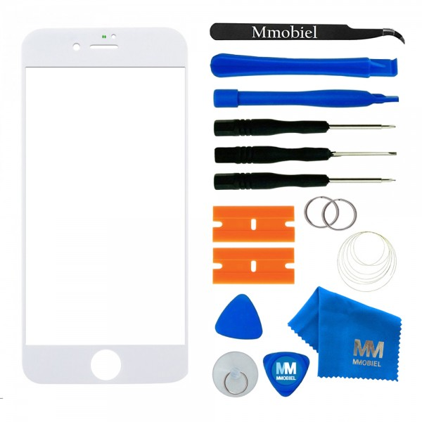 Front Glass for iPhone 8 (White) Display Touchscreen incl. Toolkit