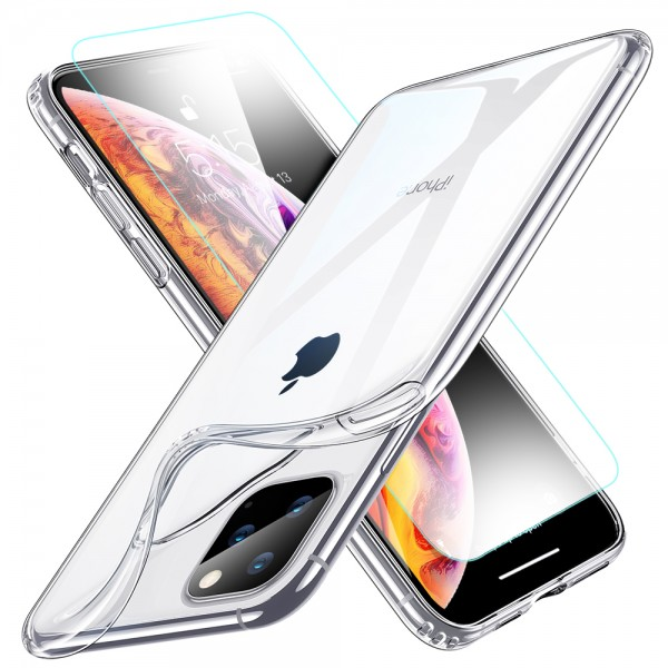 TPU Silikonhülle + Displayschutzfolie gehärtetem Glas für iPhone 11 Pro Max